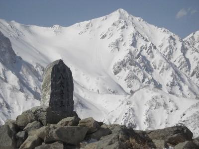 八大竜王の碑と白馬鑓ヶ岳