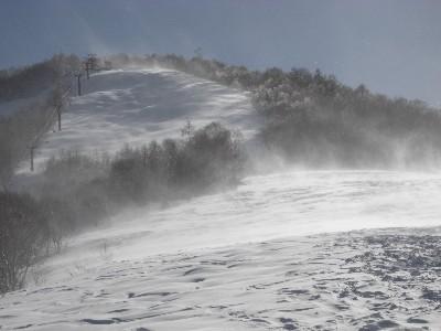 強風で雪煙が上がる