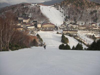 高天ヶ原で早朝スキー