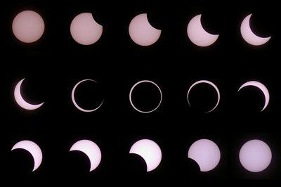 日食の移り変わり