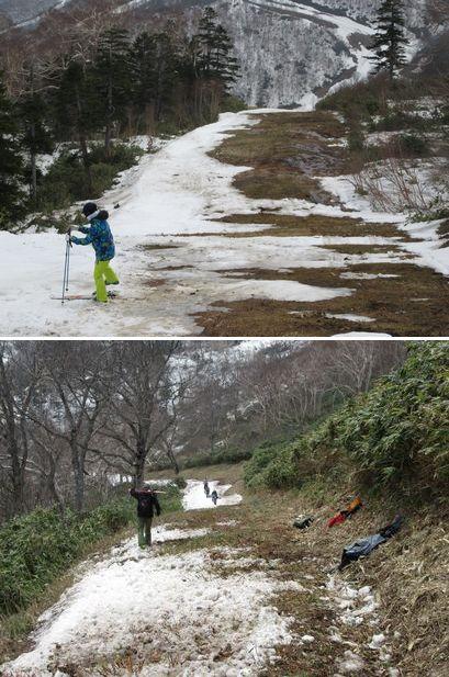 雪が切れて歩く